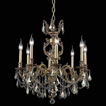 Elegant 9508D24FG-GT-RC Marseille 24  8-lamp Golden Teak Crystal French Gold Chandelier