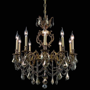 Elegant 9510D28FG-GT-RC Marseille Medium 28  10-lamp Golden Teak Crystal Gold French Chandelier