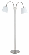 Cal BO-2444FL-BS Gail 65 Inch Tall 2 Lamp Brushed Steel Transitional Floor Lamp