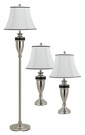 Cal BO-2333/3 Rubbed Matte Steel 3 Piece Set Floor Lamp & Table Lamps