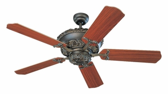 Monte Carlo Fans 5AB52RB Aberdeen Roman Bronze Finish Antique 52 Inch Wide Teak Blade Ceiling Fan