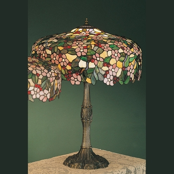 cherry blossom 28 inch tall tiffany living room table lamp mey 31148. Black Bedroom Furniture Sets. Home Design Ideas