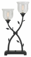 Cal BO-2358TB Rustic Style Black Iron Finish 2 Lamp Table Lighting
