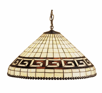 Meyda Tiffany 36935 Greek Key Mahogany Bronze Finish 21 Inch Diameter Stained Glass Hanging Pendant Light
