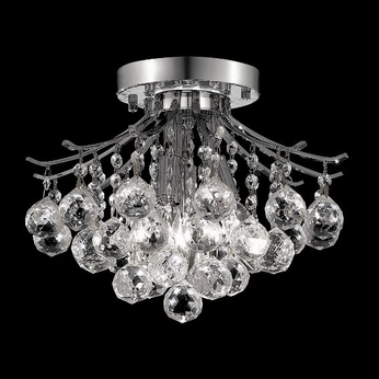 Elegant 8000F12C-RC Toureg Small 3 Light Crystal Overhead Lighting Fixture with Chrome Finish