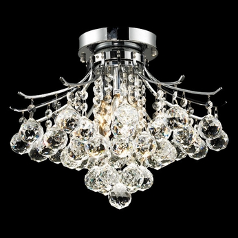 Elegant 8000F16C-RC Toureg Semi Flush Mount Medium Crystal Overhead Lighting Fixture - Chrome