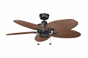 Kichler 320510SBK-370024 Crystal Bay Satin Natural Black Chocolate Wicker Blade Outdoor Ceiling Fan