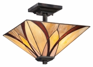 Quoizel TFAS1714VA Asheville Semi Flush Tiffany Art Glass 14 Inch Diameter Ceiling Light