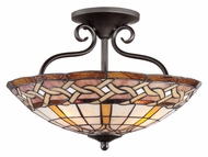 Quoizel TFCW1719IB Cross Weave Imperial Bronze 18 Inch Diameter Tiffany Ceiling Lighting