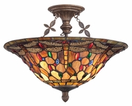 Quoizel TFJD1718ML Jewel Dragonfly 18 Inch Diameter Malaga Semi Flush Lighting - Tiffany