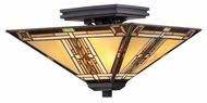 Quoizel TFNO1714VA Navajo Valiant Bronze Semi Flush Mount Lighting - Tiffany