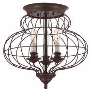 Quoizel LLA1615RA Laila 3 Lamp Rustic Antique Bronze 15 Inch Diameter Ceiling Lighting