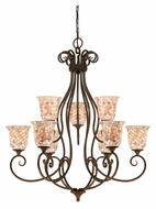 Quoizel MY5009ML Monterey Mosaic Small Traditional Malaga Finish 34 Inch Diameter Lighting Chandelier