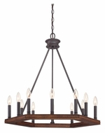 Quoizel PTN5012DK Plantation Transitional 28 Inch Diameter 12 Candle Chandelier Lamp