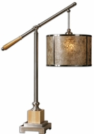 Uttermost 26765-1 Sitka Silver Hanging Mica Drum 34 Inch Tall Table Top Lamp