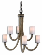 Uttermost 21254 Gironico Wrapped Rope 27 Inch Diameter Chandelier Light Fixture
