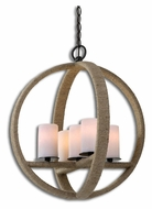 Uttermost 21997 Gironico Round 20 Inch Diameter Rustic Wound Rope Lighting Pendant