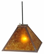 Meyda Tiffany 138621 Simple Mission Amber Mica 8 Inch Tall Craftsman Mini Pendant