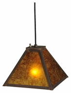 Meyda Tiffany 139476 Simple Mission Amber Mica 10 Inch Wide Craftsman Mini Drop Lighting