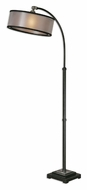 Uttermost 28591-1 Worland 64 Inch Tall Dusty Matte Black Drum Shade Floor Lamp
