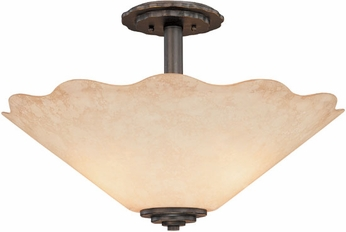 Troy C1530CO Boulder Semi-flush Mount Colorado Iron and Stone Glass Ceiling Lighting Fixture