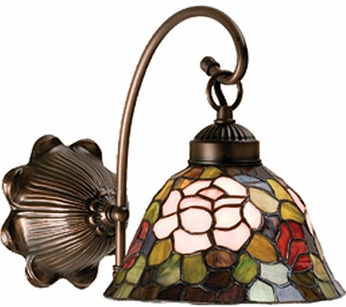 Meyda Tiffany 18708 Rosebush Tiffany 1 Light Wall Sconce Lighting Fixture