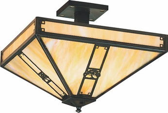 Arroyo Craftsman PIH-16 Pasadena Craftsman Semi-Flush Ceiling Fixture - 16 inches wide
