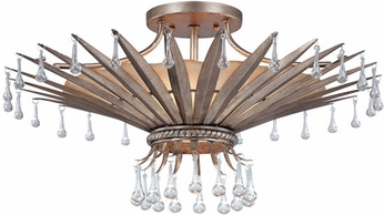 Troy C1332AS St. Barts 23.5 inchesW 1 Light 4 Bulb Rustic Chic Silver and Amber Semi-flush Mount Ceiling Lighting Fixture