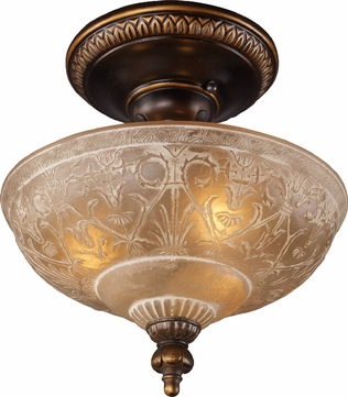 Landmark 08100-AGB Restoration 3 Light 12 inch Semi Flush Ceiling Fixture