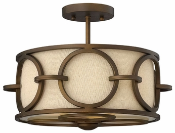 Fredrick Ramond 42401BRC Pandora Linen Shade Semi Flush Drum Overhead Lighting