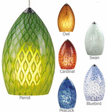Tech Firebird Drop-Shaped Low-Voltage Halogen Art Glass Pendant Light