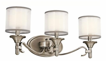 Kichler 45283AP Lacey 3-light Bathroom Lighting in Antique Pewter