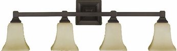 Feiss VS12404ORB American Foursquare 4 Light Oil Rubbed Bronze Vanity Wall Lighting Fixture