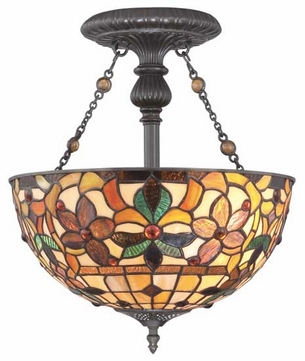 Quoizel TF878SVB Kami Semi-Flush Tiffany Ceiling Light