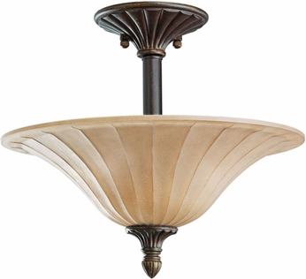 Kichler 3658CZ Cottage Grove Carre Bronze 3-Light Traditional Semi Flush