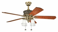 Kichler 300161BAB Corinth 4 Lamp Burnished Antique Brass Ceiling Fan - Traditional