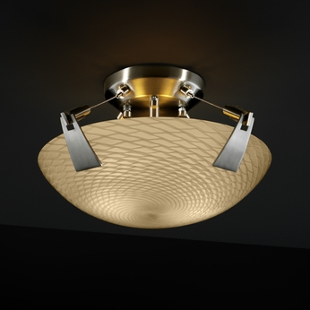 Justice Design FSN9630 Tapered Clips Fusion Semi-flush 14  Round or Square Bowl Ceiling Light