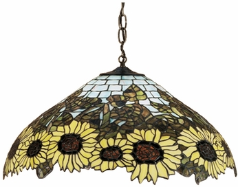 Meyda Tiffany 47628 Wild Sunflower 22 inches wide Tiffany Ceiling Light