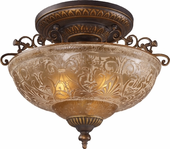 ELK 08099-AGB Restoration 3 Light 16 inch Semi Flush Ceiling Fixture