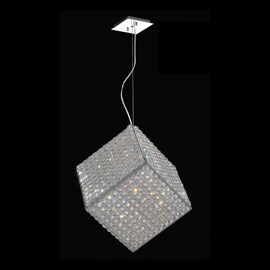 Worldwide W83931C12 Pluto Clear Crystal Cube Small Hanging Light Fixture