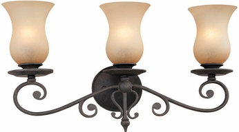Troy B1303FI Portobello 3 Light Amber and French Iron Vanity Wall Lighting Fixture