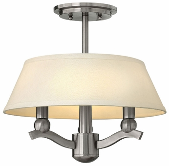 Hinkley 4611BN Whitney Nickel Semi Flush Ceiling Light Fixture With Linen Shade