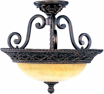 Maxim 20281VAOI Portofino 3 Light Traditional Semi Flush Ceiling Fixture