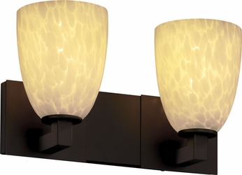 Justice Design FSN892218 Modular Fusion Short Tapered Shade Contemporary Two-Light Bathroom Lighting
