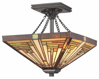 Quoizel TF885SVB Stephen Semi-Flush Tiffany Ceiling Light