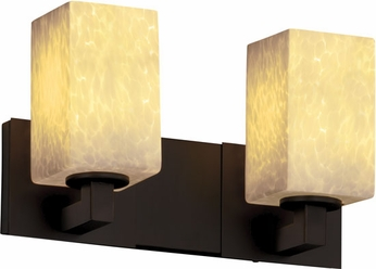 Justice Design FSN892215 Modular Fusion Square Shade Contemporary Two-Light Bathroom Lighting