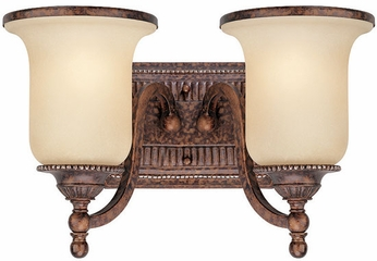 Troy B1492HL Waldorf 2 Light Amber and Heirloom Bath Wall Lighting Fixture
