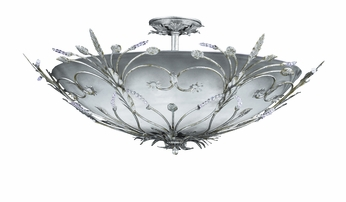 Crystorama 4705-SL Floral 30 inch semi-flush mount in Silver Leaf finish