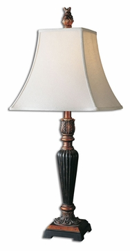 bronze leaf transitional 30 inch tall skinny table lamp utt 27296. Black Bedroom Furniture Sets. Home Design Ideas