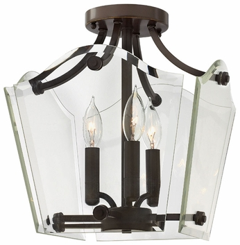 Hinkley 3003OZ Wingate 3-Light Candelabra Semi Flush Mount Ceiling Light - Oil Rubbed Bronze